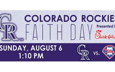 Join us for the Colorado Rockies Faith Day, Sunday, August 6 @ 1:10 p.m. Post ga…