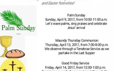 Please join us and invite friends and family to our Holy Week services, Easter B…