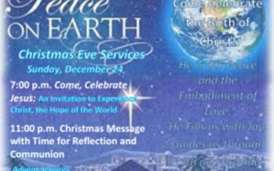 Sunday service is still at 10 a.m. The Christmas Eve services are at 7 p.m And 1…